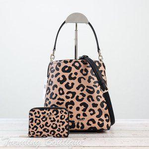 Kate Spade Darcy Leopard Bucket Bag & CardCase SET